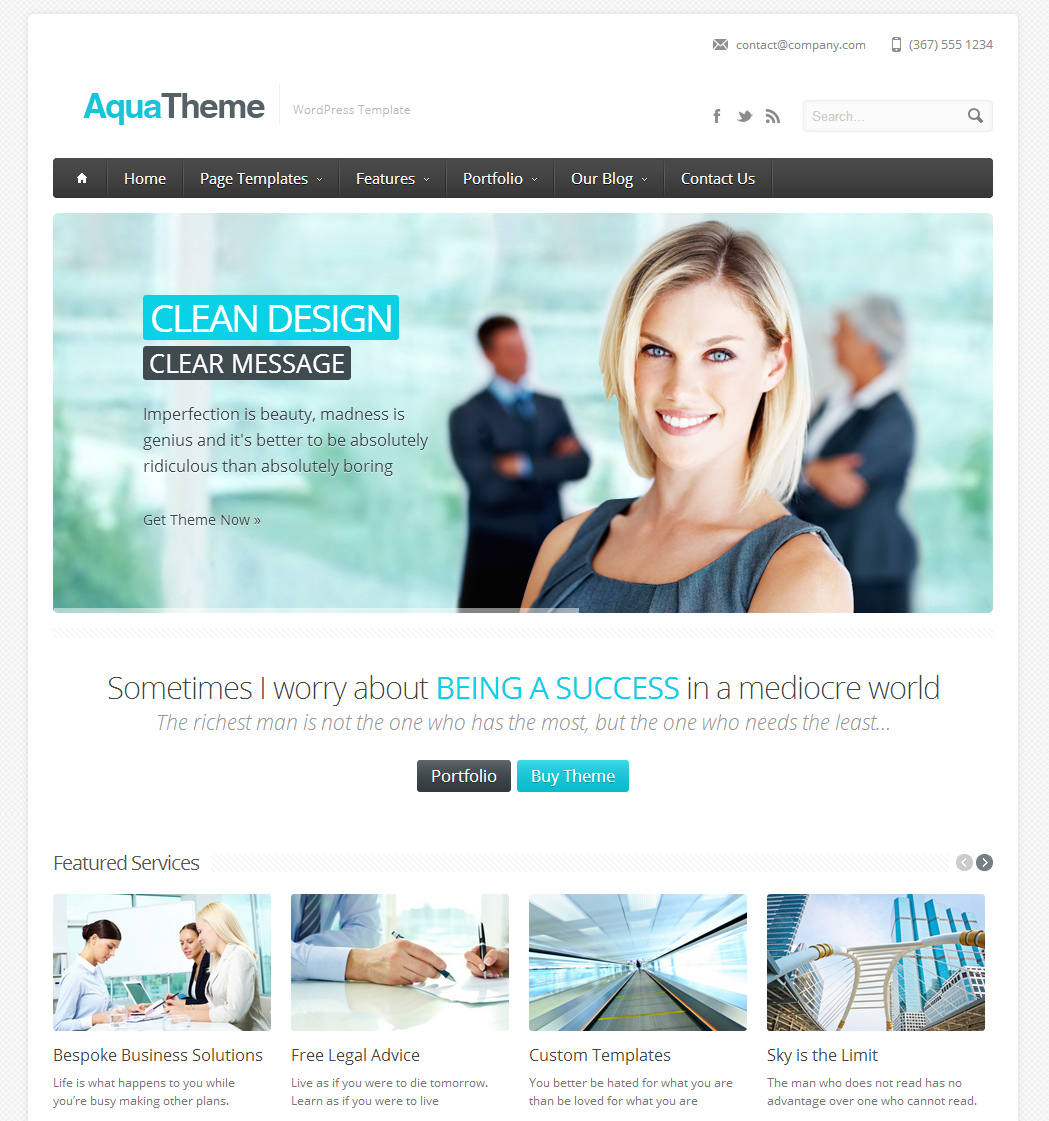 Blue owl creative portfolio web design and development aqua a premium responsive wordpress template flashek